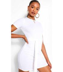 geribbelde midi jurk met strik, wit