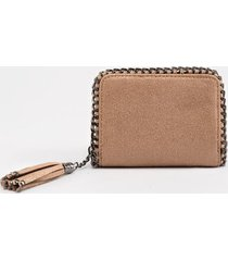 stella metallic chain wallet in taupe - taupe