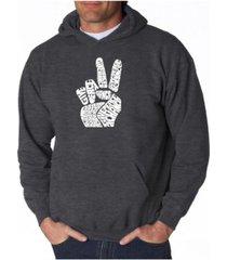 la pop art men's word art hooded sweatshirt - peace fingers
