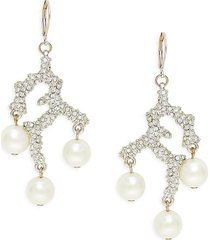 kenneth jay lane women's rhodium-plated, 10mm faux pearl & glass crystal earrings