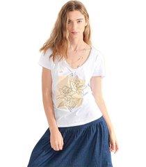 camiseta para mujer color blanco, cuello en v, manga corta color-blanco-talla-xl