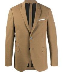 neil barrett blazer de alfaiataria com abotoamento simples - marrom
