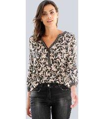 blouse alba moda antraciet::rozenhout::offwhite