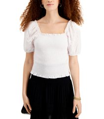 planet gold juniors' cotton smocked eyelet-sleeve top