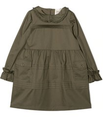 douuod green cotton blend dress