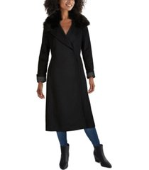 cole haan faux-fur collar belted wrap coat