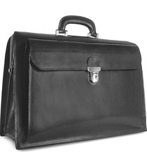 forzieri designer travel bags, black italian leather buckled large doctor bag