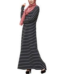 urban modesty women's striped cotton maxi dress