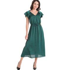 maxi vestido tipo satín verde nicopoly