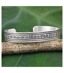 silver cuff bracelet, 'karen tribe river' (thailand)