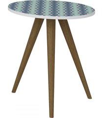mesa de canto redonda 1006 retro branco/estampa azul - bentec