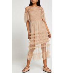 river island womens beige short sleeve mesh ruffle midi dress