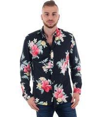 overhemd lange mouw jack & jones 12151589 jprsummer flower navy blazer slim fit