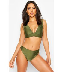 mix & match plunge bikini top, khaki