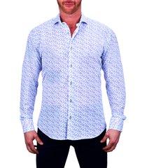 men's maceoo einstein regular fit paisley stretch button-up shirt