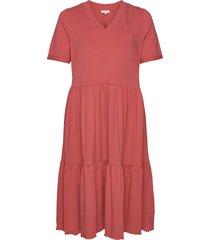 cartrue life ss calf dress knälång klänning rosa only carmakoma