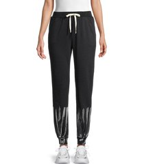 lea & viola women's tie-dyed joggers - black tie dye - size s
