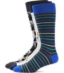 unsimply stitched men's 3-pack geometric-print crew socks