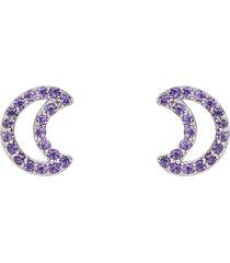 orecchini a lobo luna in argento e zirconi viola per donna