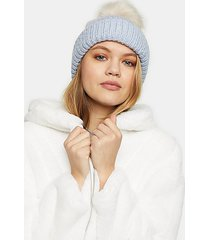 blue faux fur pom beanie - pale blue