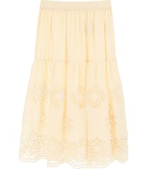 guipure and cotton voile skirt