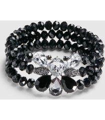 lane bryant women's 3-row beaded stretch bracelet - black onesz silver tone