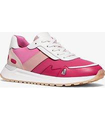 mk sneaker monroe in tessuto scuba e pelle - rosa elettrico (rosa) - michael kors