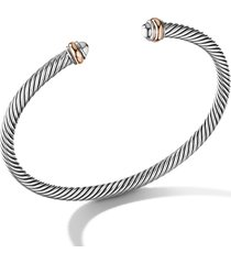 david yurman cable classics bracelet with 18k rose gold, size medium in silver at nordstrom