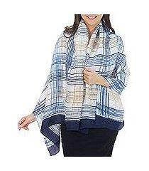 rayon and silk blend shawl, 'blue plaid song' (thailand)