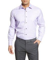 men's big & tall david donahue regular fit check dress shirt, size 18.5 - 36/37 - purple