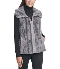 calvin klein marled faux-fur braid sweater vest
