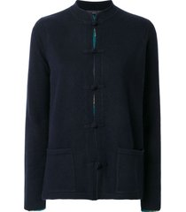 shanghai tang chinoiserie tang-style cardigan - blue