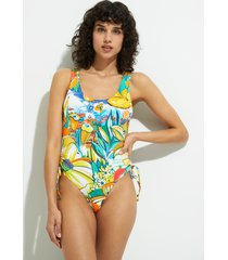 swimsuit gathered sides - green - xl