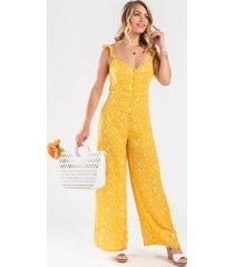 kemelle floral ruffle jumpsuit - mustard