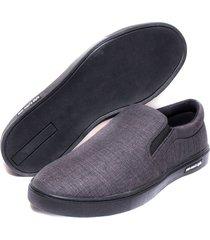 sapatênis casual iate masculino 300 slip on grafite macio fácil calce super leve confortável
