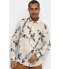 camisa manga longa reserva floral full print masculina