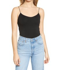 women's bdg urban outfitters bungee strap sleeveless bodysuit, size large - black