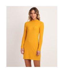 vestido feminino canelado manga longa gola alta amarelo