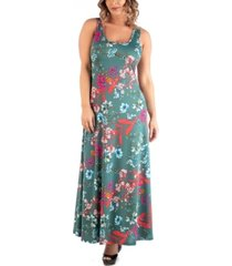 24seven comfort apparel women's plus size sleeveless floral maxi dress