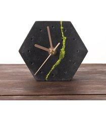 sześciokątny zegar stołowy- ciemny