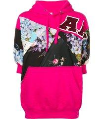 antonio marras floral panelled hooded sweatshirt - pink