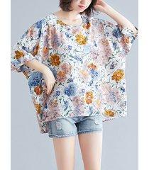 o-collo con stampa floreale plus camicetta taglia casual t-shirt donna size