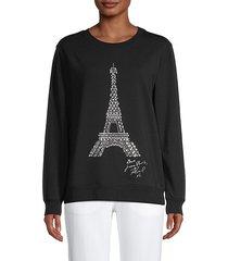 studded eiffel tower graphic sweatshirt