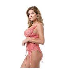 conjunto lingerie cinta liga renda liso ajustável