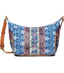 bolsa tiracolo desigual estampada azul - azul - feminino - dafiti