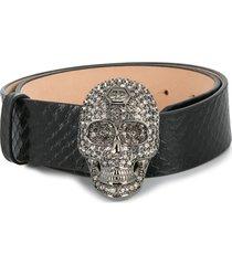philipp plein luxury embellished skull belt - black