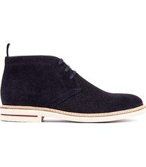 botas casuales 100% cuero azul oscuro overstate ca-6356-1351ov