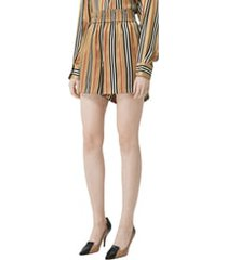 women's burberry marsett icon stripe silk shorts, size 2 - beige