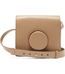 camera grained-leather crossbody bag