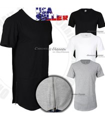 mens long t shirt hip hop with side zipper crew neck elongated s-2x longline tee